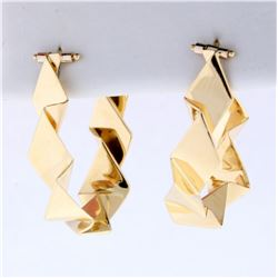 Modern Abstract Folded Sheet Design Hoop Earring in 14K Yellow Gold