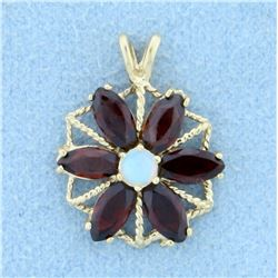 Garnet and Opal Pinwheel Design Pendant in 14K Yellow Gold