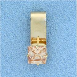 1ct Natural Morganite Pendant or Slide in 14K Yellow Gold