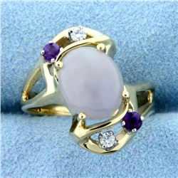 Milky Opal, Amethyst, and Diamond Ring in 14K Yellow Gold