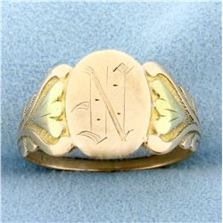 """Antique Monogram """"N"""" Ring in 10k Yellow Gold"""