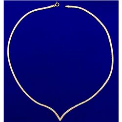 Italian Made Herringbone Necklace in 14K Yellow, White, and Rose Gold