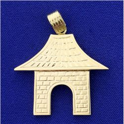 Traditional Asian Temple or Shrine Pendant in 14K Yellow Gold
