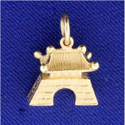 Traditional Asian Temple or Shrine Charm or Pendant in 14k Yellow Gold