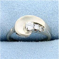 Modern Design Three-Stone Diamond Ring in 14k White Gold