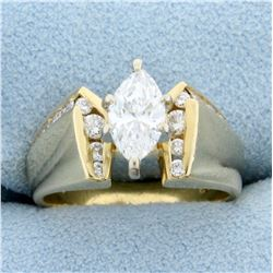 1ct TW Certified Marquise Diamond Engagement Ring in 14k Yellow Gold