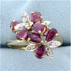 Cascading Floral Design Natural Ruby and Diamond Ring in 14k Yellow Gold