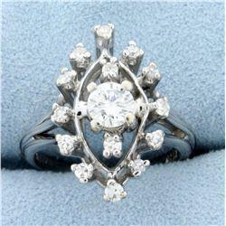Vintage 1/2ct Tw Diamond Ring in 14k White Gold