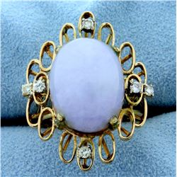 10ct Lavender Jade and Diamond Ring in 14k Yellow Gold