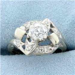 Antique .6ct TW European Cut Diamond Ring in 14k White Gold