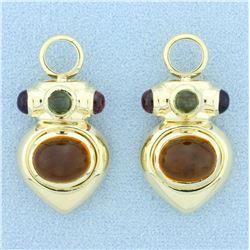 Morganite, Emerald, Amethyst, and Citrine Hoop Earring Enhancers in 14k Yellow Gold