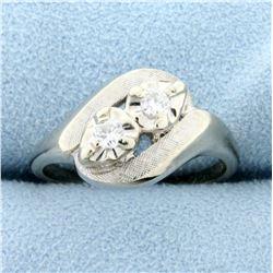Vintage Two-Stone Diamond Ring in 14k White Gold