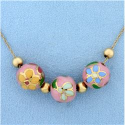 Vintage Add-A-Bead Neck Chain With Flower Cloisonné Beads in 14k Yellow Gold