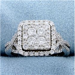 1.5ct TW Diamond Halo Style Engagement Ring in 10k White Gold