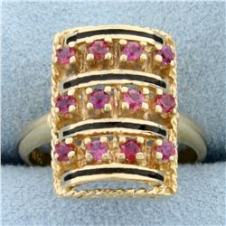 Vintage Ruby and Enamel Ring in 14k Yellow Gold