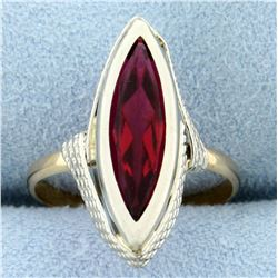 Vintage 4ct Synthetic Ruby Ring in 18k Rose and White Gold