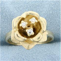 Diamond Rose Ring in 14k Yellow Gold