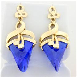 Vintage Art Deco Blue Spinel Dangle Earrings in 14k White Gold