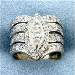 Vintage 1ct TW Diamond Ring in 14k White Gold