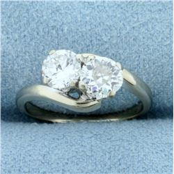 1ct TW Old European and Round Brilliant Two Stone Diamond Ring in 14k White Gol