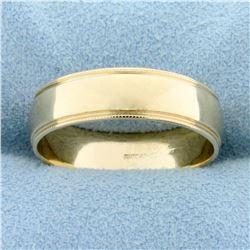 Beaded Edge Wedding Band Ring in 14k Yellow Gold