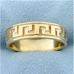 Beaded Edge Aztec Design Band Ring in 14k Yellow Gold