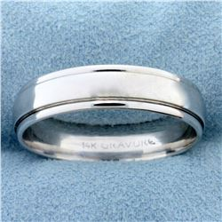 Men's Wedding Band Ring With Banded Edge in 14k White Gold