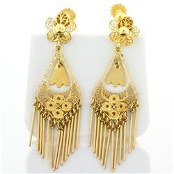 Dangle Chandelier Earrings With Screw Backs in 14k Yellow Gold