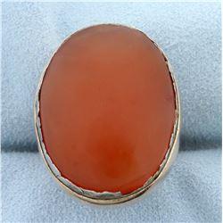 Unique Large Orange Agate Statement Ring in 14k Rose Gol