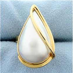 Large Mabe Pearl Statement Ring in 18k Yellow Gold