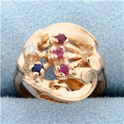 Vintage Hand Crafted Diamond, Sapphire, and Ruby Ring in 14k Rose Gold