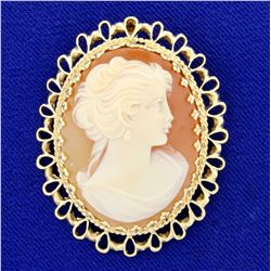 Vintage Cameo Pin or Pendant in 14k Yellow Gold