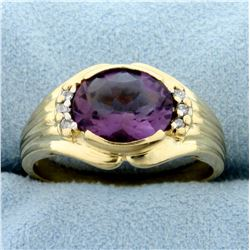 3ct Amethyst and Diamond Ring in 14k Yellow Gold