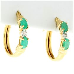 Natural Emerald and Diamond Hoop Earrings in 10k Yellow Gold