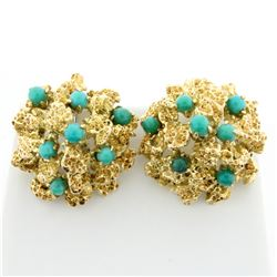 Coral Design Turquoise Clip-On Earrings in 14k Yellow gold