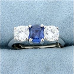 Very High Quality Natural Sapphire and Diamond 3 Stone Ring in Platinum