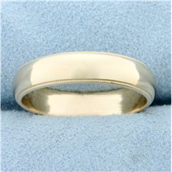 Wedding Band Ring With Beaded Edge in 14k Yellow Gold