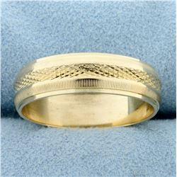 Wedding Band Ring With Unique Coin Edge and Pattern in 14k Yellow Gold