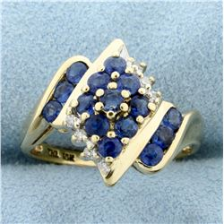 1ct TW Sapphire and Diamond Ring in 10K Yellow Gold