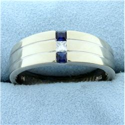 Men's Sapphire and Diamond Band Ring in 14K White Gold