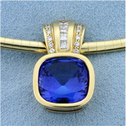 AAA Quality Tanzanite Pendant with Diamonds on 14k Yellow Gold Omega Necklace