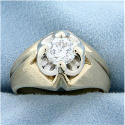 Over 1ct Solitaire Men's Diamond Ring in 14K Yellow and White Gold