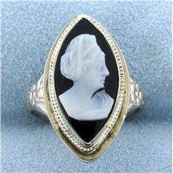 Vintage Black Cameo Ring in 14K White Gold