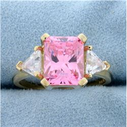 Pink and White CZ Ring in 10K Yellow Gold