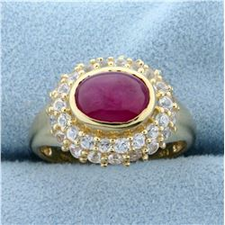 1.5ct Natural Cabochon Ruby and White Sapphire Ring in 14K Yellow Gold