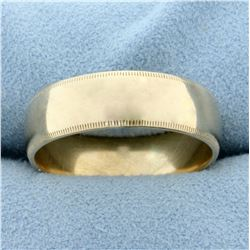 Men's Wedding Band Ring with Beaded Edge in 14K Yellow Gold