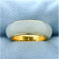 Natural Jade Band Ring in 14K Yellow Gold