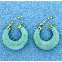 Natural Jade Hoop Earrings in 14K Yellow Gold