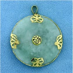 """37mm Round Natural Jade """"Blessing"""" Chinese Pendant in 14K Yellow Gold"""
