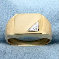 Men's Diamond Signet Ring in 14K Yellow and White Brushed Gold